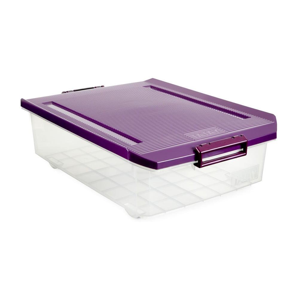 Průhledný úložný box pod postel s fialovým víkem Ta-Tay Storage Box, 32 l