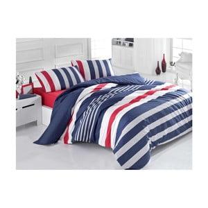 Lenjerie de pat cu cearșaf Navy Stripe, 160 x 220 cm