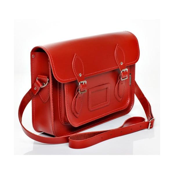 Kožená kabelka Satchel 33 cm, červená