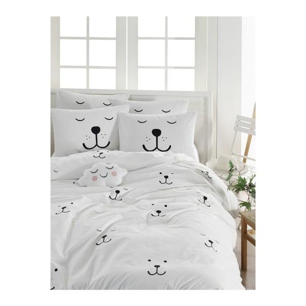 Lenjerie de pat cu cearșaf din bumbac ranforce, pentru pat dublu Mijolnir Eles White, 200 x 220 cm