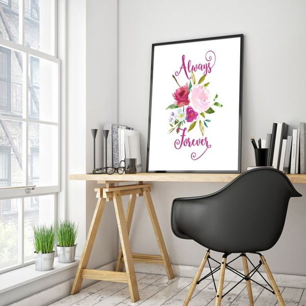 Plakát v dřevěném rámu Always forever , 38x28 cm