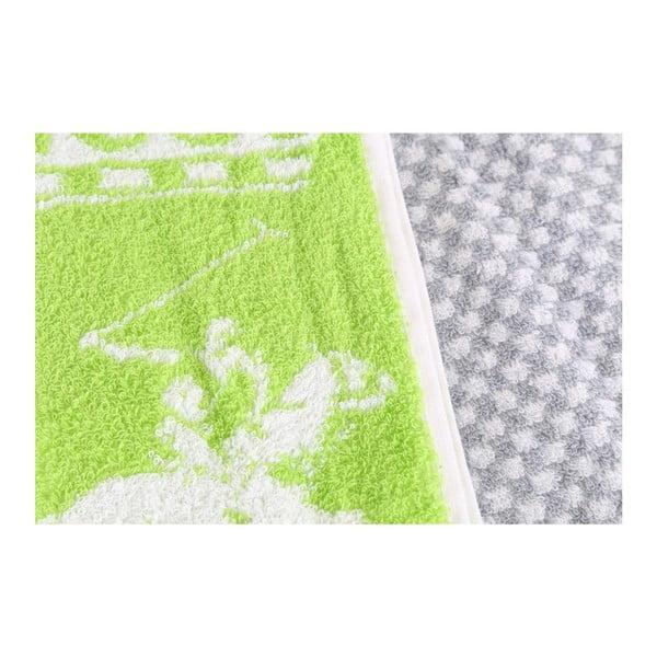 Šedo-zelený kostkovaný ručník Beverly Hills Polo Club, 100x50cm