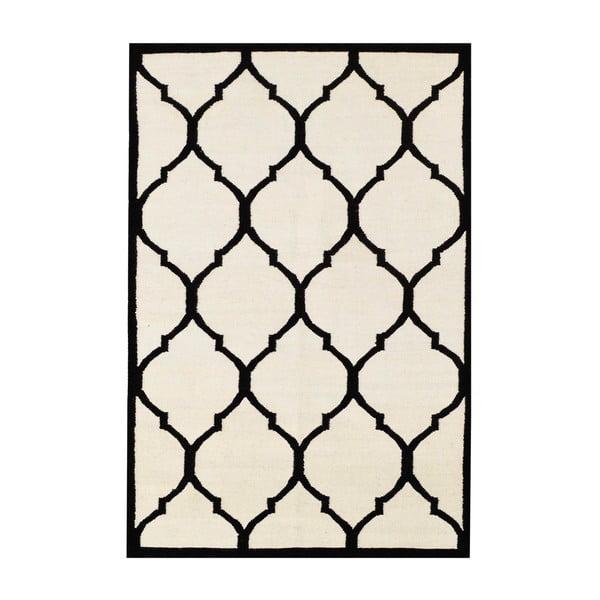 Ručně tkaný koberec Lara Ivory Black, 140x200 cm
