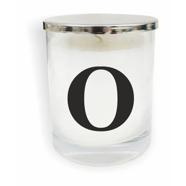 Bielo-čierna sviečka North Carolina Scandinavian Home Decors Monogram Glass Candle O