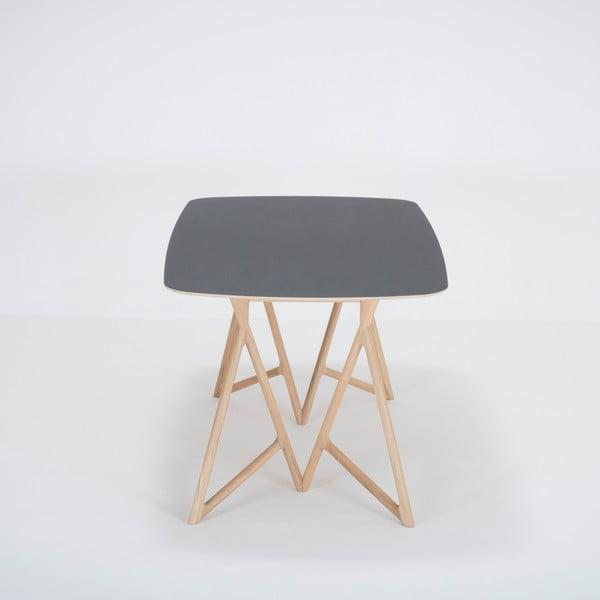 Jídelní stůl z masivního dubového dřeva s černou deskou Gazzda Koza, 180x90cm