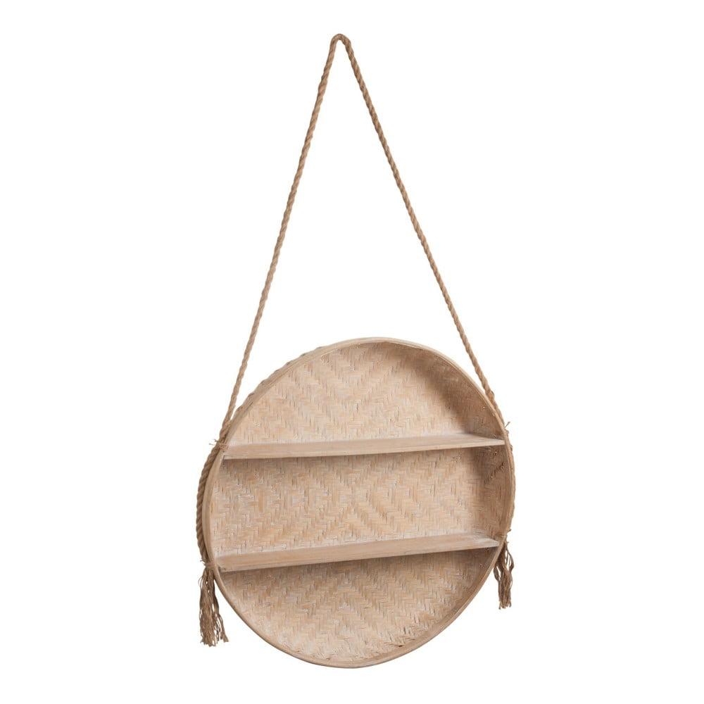 Závěsná dřevěná polička J-Line Bamboo, ⌀ 79 cm