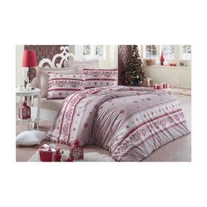 Lenjerie de pat cu cearșaf din bumbac Snow, 160x220cm