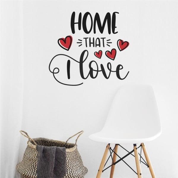 Černo-červená nástěnná samolepka North Carolina Scandinavian Home Decors Motto V39
