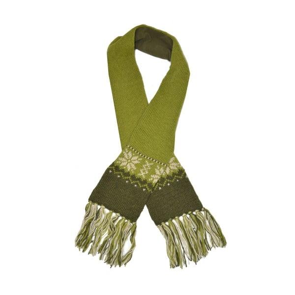 Vlněná šála s fleecovou podšívkou Zelené vločky