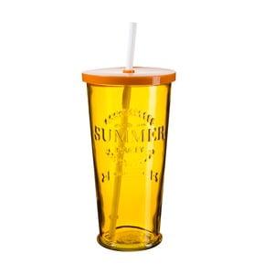 Sada 4 oranžových sklenic s víčkem a brčkem SUMMER FUN II, 650ml