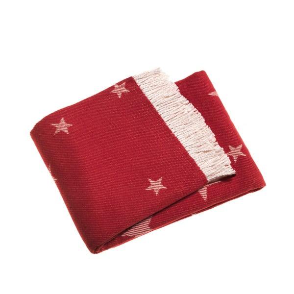 Červená deka Euromant Stars, 140x180 cm