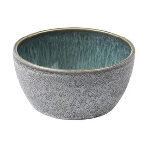 Šedá kameninová miska s vnitřní glazurou v zelené barvě Bitz Mensa, průměr 10 cm