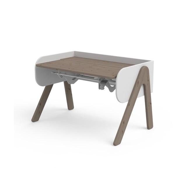 Tmavě hnědo-bílý psací stůl z borovicového dřeva s nastavitelnou výškou Flexa Woody