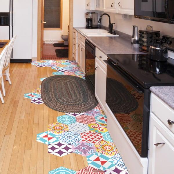 Sada 10 samolepek na podlahu Ambiance Hexagons Guiliena, 20 x 18 cm