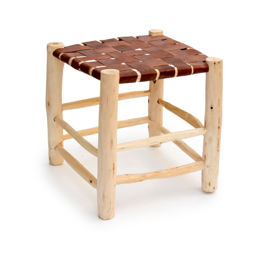Ručně vyrobená taburetka z borovicového dřeva Surdic Trenzado Piel