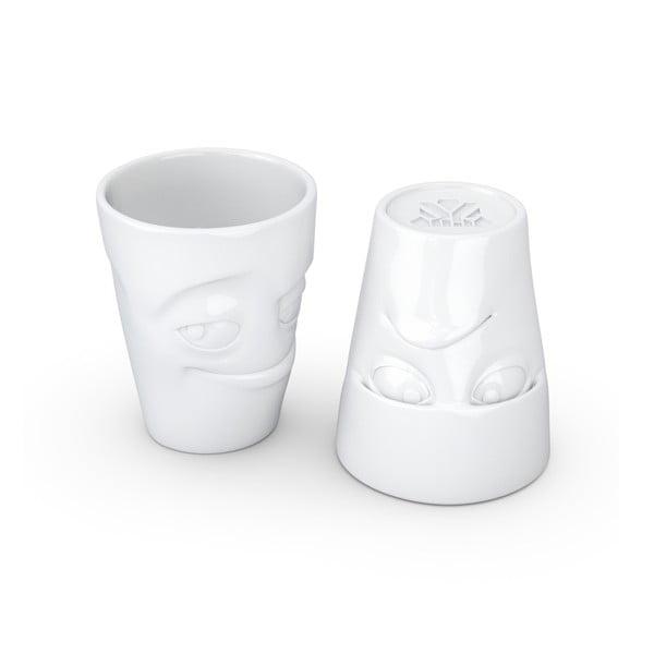 Sada 2 bílých hrnků z porcelánu 58products Grumpy & Impish