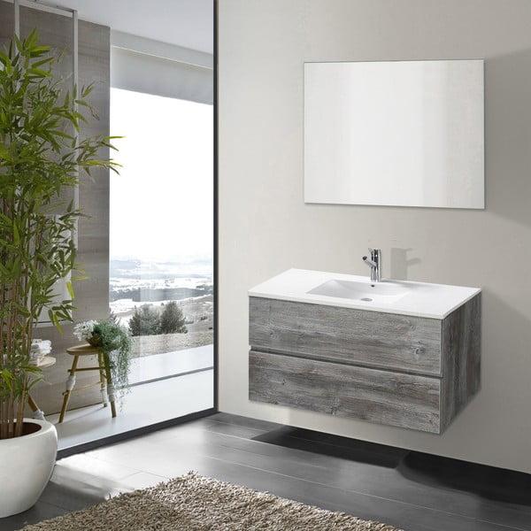 Koupelnová skříňka s umyvadlem a zrcadlem Flopy, vintage dekor, 80 cm