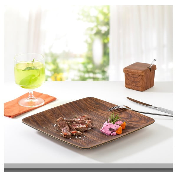 Szögletes barna tányér, 23,5 x 23,5 cm - Evelin