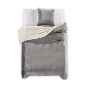 Lenjerie de pat din microfibră DecoKing Teddy, 135 x 200 cm, gri deschis