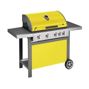 Žlutý plynový gril se 4 samostatně ovladatelnými hořáky, teploměrem a bočním ohřívačem Jamie Oliver BBQ