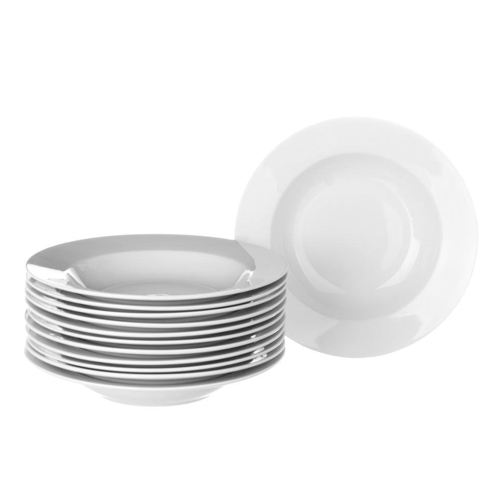 Sada 12 bílých hlubokých porcelánových talířů Unimasa Elegant Unimasa