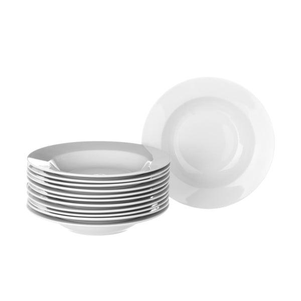 Elegant 12 db-os fehér porcelán mélytányér készlet - Unimasa
