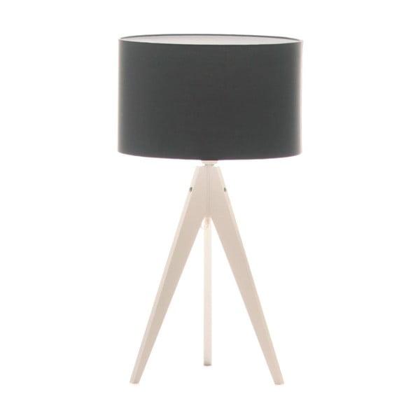 Černá stolní lampa 4room Artist, bílá lakovaná bříza, Ø 33 cm