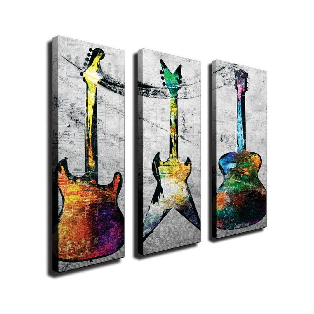 3dílný nástěnný obraz na plátně Guitars