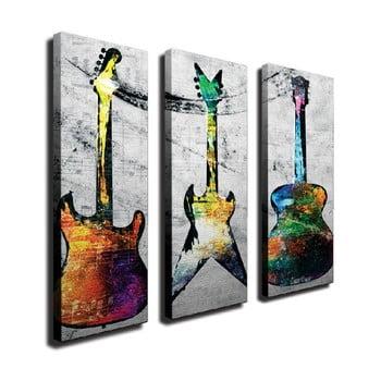 Tablou pe pânză din 3 piese Guitars de la Unknown