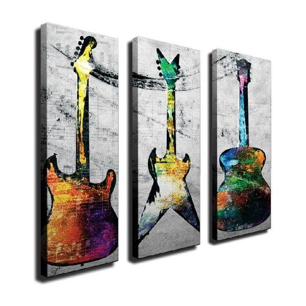 Tablou pe pânză din 3 piese Guitars