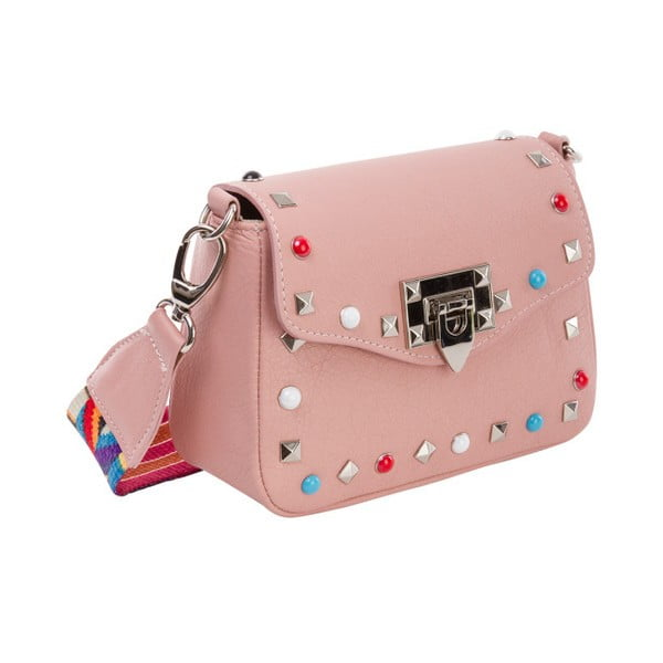 Różowa torebka skórzana Andrea Cardone Bice