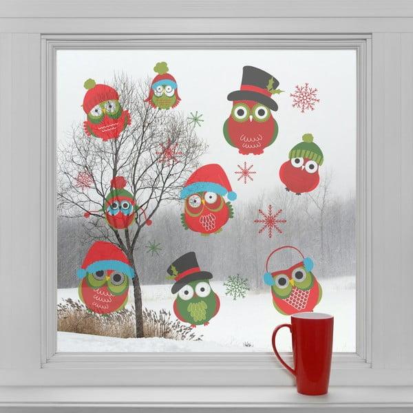 Elektrostatické vánoční samolepky Vánoční sovičky
