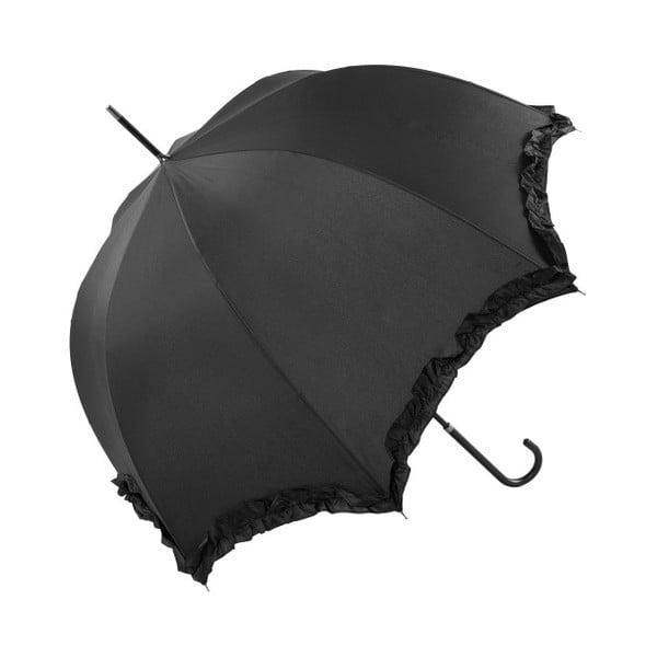 Čierny svadobný tyčový dáždnik Scallop, ⌀92 cm