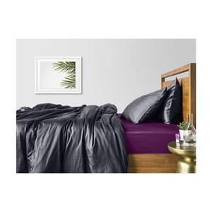 Šedé bavlněné povlečení na dvoulůžko s fialovým prostěradlem COSAS Muno, 200 x 220 cm
