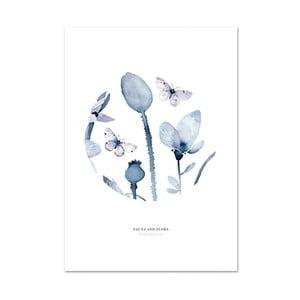 Plakát Leo La Douce Poppies & Butterflies I, 21x29,7cm