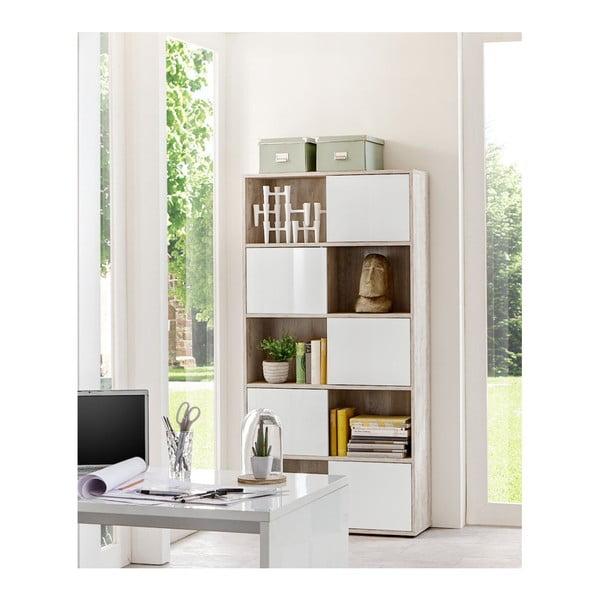 Pětidveřová knihovna v dekoru dubového dřeva s bílými detaily 13Casa Save