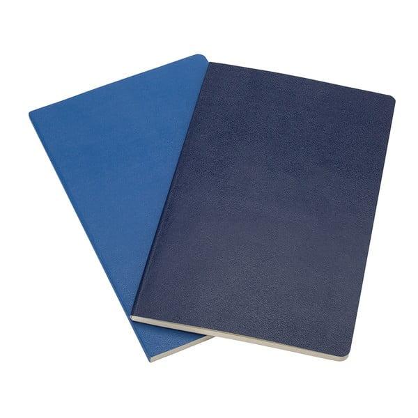 Sada 2 notesů Moleskine Antwerp Blue, linkované 13x21 cm