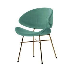Mintově zelená židle nohami ve zlaté barvě Iker Cheri