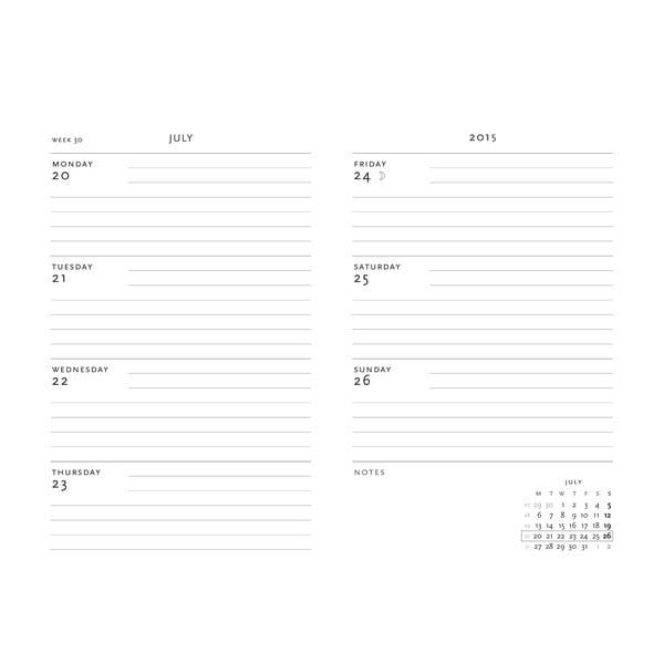 Diář pro rok 2015 Safavid 10x14 cm, horizontální výpis dnů