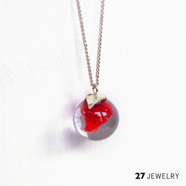 Červený náhrdelník ze skla Enamor