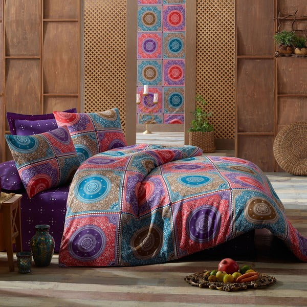 Lenjerie de pat cu cearșaf Ornament Purple, 200 x 220 cm