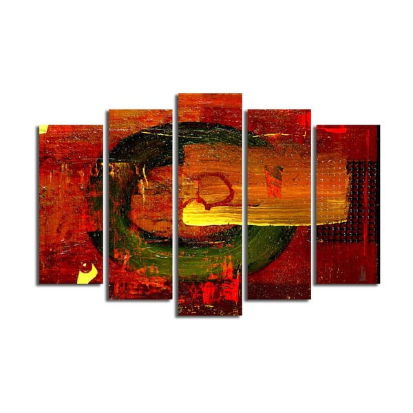 Viacdielny obraz Red Abstract Wall Art, 105 × 70 cm
