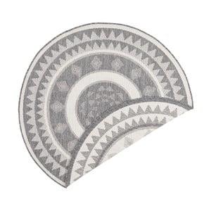 Šedo-krémový oboustranný koberec vhodný i na ven Bougari Jamaica, ⌀ 140 cm