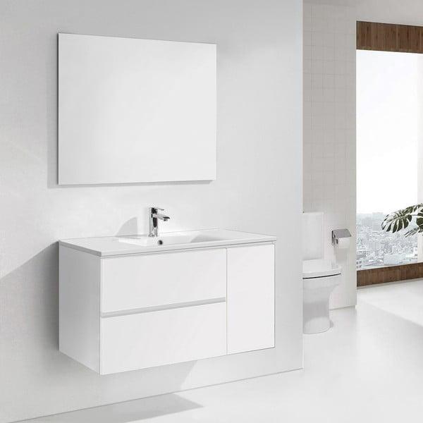 Koupelnová skříňka s umyvadlem a zrcadlem Happy, odstín bílé, 100 cm