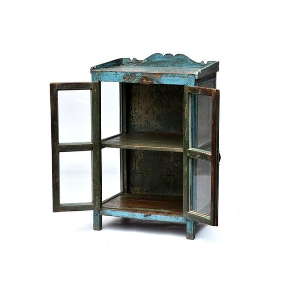 Prosklená skříňka Goa 65x102 cm, modrá patina