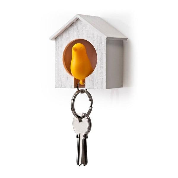 Věšák na klíče vrabčák v budce, oranžová