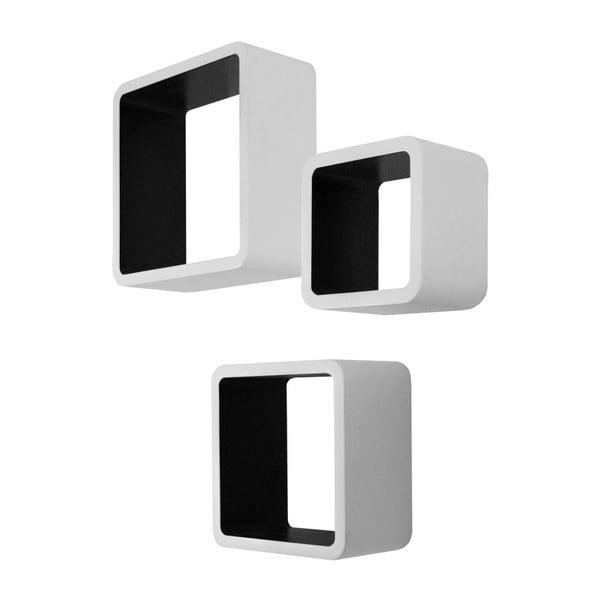 Set 3 rafturi de perete Intertade Cubo, negru - alb
