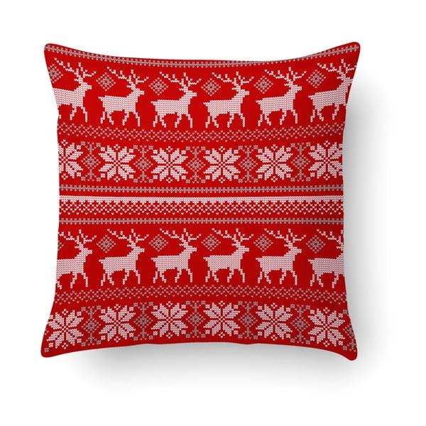 Pernă Crido Consulting Scandi Deer, 40 x 40 cm, roșu