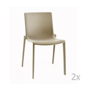 Sada 2 béžových zahradních židlí Resol Beekat
