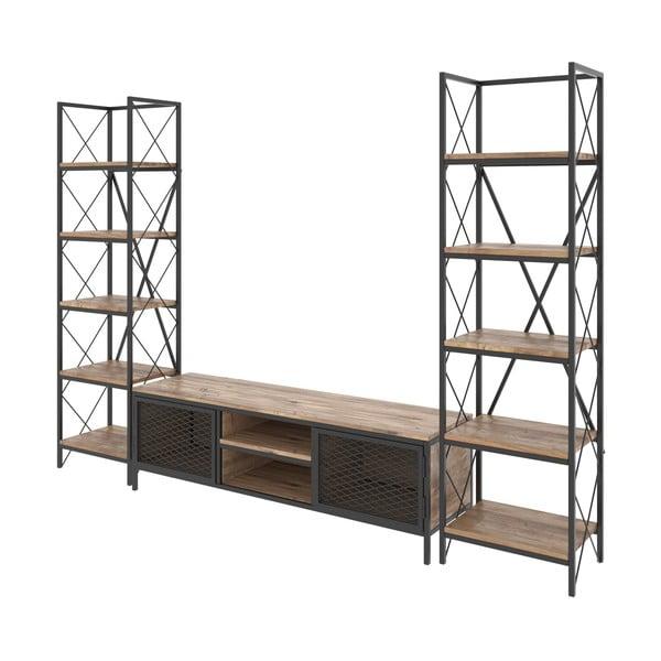 Set comodă TV și 2 etajere de perete Kalune Design Maxim